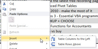 Format as Table Option Insert