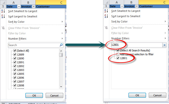 Search Filter Excel 2010