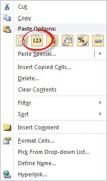 Right Click Paste Values