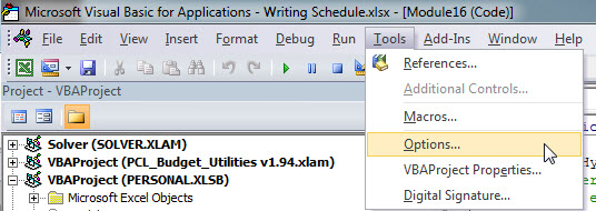 VBA Tools Options