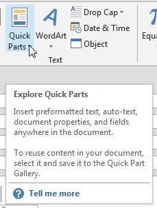 Quick Parts icon
