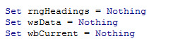 Set Object to Nothing
