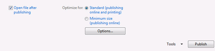 save as pdf publisher 2017 changes image borders