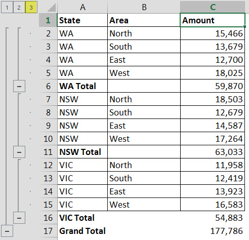Excel subtotal sort magic a4 accounting if we click the small number 2 in the top left the display changes to the image below this shows just the subtotals and the grand total ibookread PDF