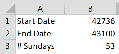 Count Sundays between two dates | A4 Accounting