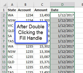 Copying a Date Down a Long List in Excel | A4 Accounting