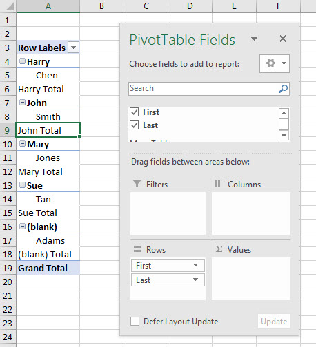 PivotTable Combinations Trick | A4 Accounting