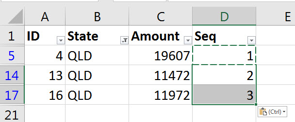 Sequential numbers in a filtered list | A4 Accounting